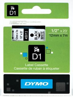 DYMO D1 45013 Labeling Tape 1 catridge 12 W x 23 L  Black print on White tape -- Want to know more, click on the image.