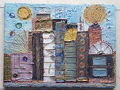 Acrylbild Leinwand 40 x 30 x 2 Häuser Skyline Strukturen modern abstrakt Gemälde von BeGehrLich auf Etsy