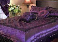 Vintage style, satin, purple and black bedding...
