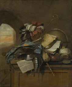 - Cornelis Brisé - vanitas stilleven - 1665 - Amsterdam - een stilleven waarop allerlei voorwerpen zijn afgebeeld waarvan een aantal met de dood te maken hebben. De voorwerpen zijn gedetailleerder gemaakt dan de rest, ook heeft hij opvallende kleuren gebruikt.