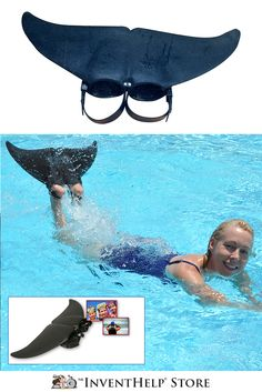 Glide through the water like a dolphin! Made of natural rubber, Dol-Fin Tails™ feature a hydrofoil shape that helps improve a swimmer's momentum below the water. Dol-Fin Tails slips easily over a swimmer's feet and secures to each foot with a heel strap. Available at inventhelpstore.com.