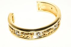 Vintage Gold and Silver Panther Cuff Bracelet with Bezel Set Rhinestones and Matching Pierced Small Hoop Style Earring Demi Parure 1980s