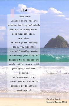 #skyword poetry #caroline lamb #sea #poetry #summer My Poetry, How To Make Bows, Lamb, Knitting Patterns, Aqua, Waves, Sky, Beach, Summer