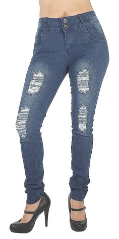 """N1167R- Butt Lift, Levanta Cola, Destroyed, Ripped, Mid Waist, Sexy Skinny Jeans in Blue Size 7. Butt lift Denim, 2 Vintage buttons on a wide waistband makes your tummy looks flatter,. Mid Waist Jeans, functional front pockets, classic back pockets. Destroyed rips in front. Fashion Jeans for Women, Like the Brazilian jeans and Colombian jeans styles designed for the """"levanta cola"""" effect, the additional stitching in the back rises over your rear and hugs your hips to create the butt…"""