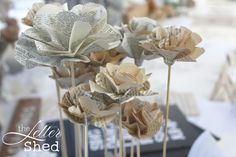 Paper flowers from old book pages!