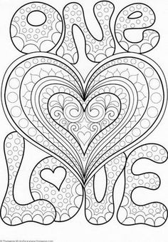 Love Mandala Coloring Pages E Love Coloring Page by Thaneeya Mcardle Heart Coloring Pages, Printable Adult Coloring Pages, Mandala Coloring Pages, Coloring Pages To Print, Colouring Pages, Coloring Books, Zantangle Art, Quilled Creations, Mandalas Painting