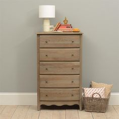 Camille Limewash Oak Tall 5 Drawer Chest - The Cotswold Company