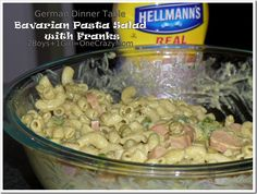 My German Dinner Table dished up Bavarian Pasta Salad with Homemade Garlic Bread #Recipe