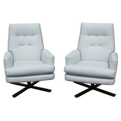 Pair of White Leather Cumberland Lounge Executive Chairs