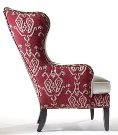 EthanAllen Selby wind chair with red tribal fabric and nailhead on side - great look! Furniture Styles, Home Decor Furniture, Cool Furniture, Living Room Chairs, Living Room Decor, Love Chair, Take A Seat, Chair Fabric, Occasional Chairs
