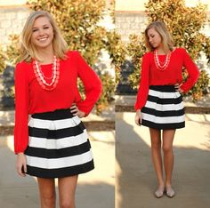 Get your Valentine's Day outfit from Page 6 Boutique! - CoCo Skirt, $42.00  Flirty Girl Top in Tomato, $39.99
