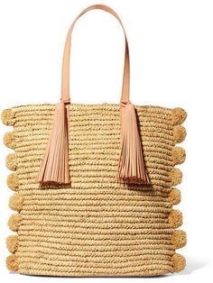 Loeffler Randall - Cruise Pompom-embellished Leather-trimmed Straw Tote - Beige. Disclosure: My pins are affiliate links, meaning, at no additional cost to you, I will earn a commission if you click on the link and/or make a purchase.