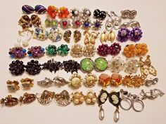 Huge Vintage & Modern Earrings Lot RHINESTONE Coro Lisner Japan W Germany Alice