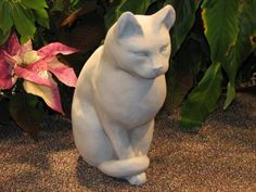 """CAT Sitting STATUE 12"""" Kitten Sculpture CLASSIC GRAY Cast CEMENT GARDEN Outdoor Decor by eEarthExchange. $82.95. GRAY CONCRETE - Cast Stone - NO RESIN. MADE in the USA!!!   Ships Ground with insurance. ANTIQUE GRAY COLOR STAIN - ONLY. 12""""H x 9""""D x 6""""W, 22 lbs. Each casting is hand finished using an antiquing stain that permanently changes the exterior surface to one of the colors listed above. Due to the nature of this process, each casting will have subtle vari..."""