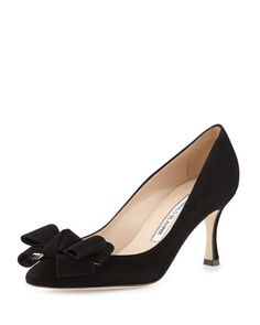Lisanewbo+Suede+Mid-Heel+Bow+Pump,+Black+by+Manolo+Blahnik+at+Neiman+Marcus.