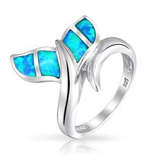 Bling Jewelry Blue Opal Inlay Whale Tail Nautical Animal Ring Sterling Silver