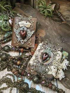 Unrequited : Lily Mixed Media Book Necklace by AlteredAlchemy
