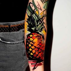 Pineapple Tattoo by Dynoz Art Attack Pineapple Pictures, Pineapple Tattoo, Great Tattoos, Arm Tattoos, Tattoo Inspiration, Watercolor Tattoo, Tatting, Graffiti, Piercings
