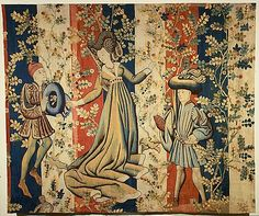 Courtiers in a Rose Garden: A Lady and Two Gentlemen, ca. South Netherlandish, wool warp, wool, silk and metallic weft yarns. Metropolitan Museum of Art. Moda Medieval, Medieval Art, Medieval Dress, Tapestry Weaving, Tapestry Wall Hanging, Wall Hangings, Textiles, Renaissance Kunst, Medieval Tapestry