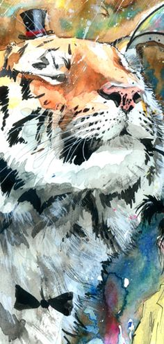 This giclee print offers beautiful color accuracy on a high-quality paper or canvas according to your specification of size and format above. Giclee (French for to spray) is a printing process where m Big Cats Art, Cat Art, Art Sketches, Art Drawings, Tiger Painting, Art Watercolor, Gatos Cats, Art Corner, Wildlife Art