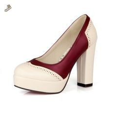 AmoonyFashion Womens Closed Round Toe High Heel Platform Chunky Heels Plastic Assorted Colors Pumps, Beigered, 7.5 B(M) US - Amoonyfashion pumps for women (*Amazon Partner-Link)
