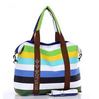 Women Handbags Vintage Shoulder Bags Retro Stripe Canvas Tote Bag For Girl Large Female Casual Hand Crossbody Bag Sac Femme
