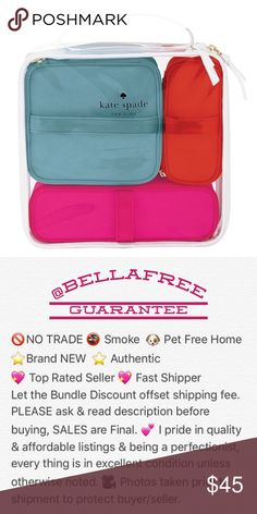 """🆕 ♠️ Kate Spade ♠️ 4 Piece Cosmetic Bag Set 🍃 🆕 ♠️ Kate Spade NEW YORK ♠️ 4 Piece Cosmetic Bag Set 🍃 NEW with tag.  1)  Clear 9""""x11""""x3"""" with handle 2)  Blue 6""""x7""""x3"""" with handle.                                          3)  Pink 8.5""""x2.5'x3"""" with handle 4)  Orange 5.5""""x2.5""""x3"""" with handle.     ☀️ I also carry TOO Faced * Urban Decay * Bobbi Brown * Tarte * Marc Jacobs * BECCA and so much more.. kate spade Bags Cosmetic Bags & Cases"""