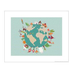 "Artwork (titled ""happy world"") for the nursery. BILD Poster IKEA Motif created by Alida Ginebreda. $5"