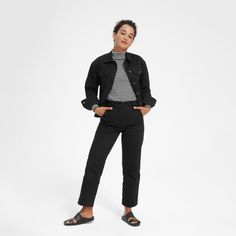 The essential denim jacket. Designed with a modern, relaxed fit, ours is made from a rigid Japanese fabric that's garment-washed for a one-of-a-kind look—that just gets better with time. Leather Flight Jacket, Autumn Fashion 2018, Summer Jeans, Modern Essentials, Japanese Fabric, New Wardrobe, Women Empowerment, Skinny Jeans, Pants