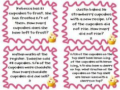 Put your students to work solving the Cupcake Shoppe's Multiplication and Division with Fractions word problems! 32 task cards, payroll problems, and 4 boxed cupcake problems (for modeling). Best of all, you can use this theme year-round, no matter what holidays are around the corner. $