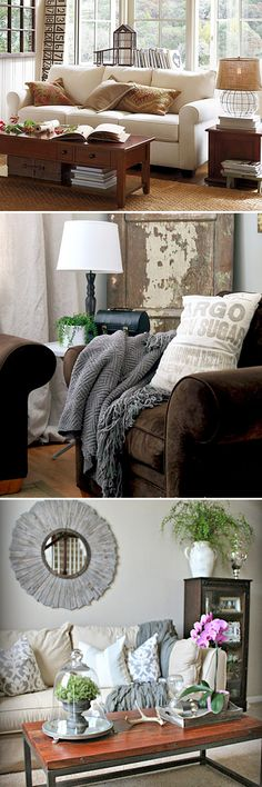 Small Living Room Makeovers • Tips, Ideas and Before and Afters. Including, from 'pottery barn, yellow bliss road, and chic on a shoestring', these three great makeover ideas.