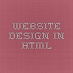 Website Design in HTML
