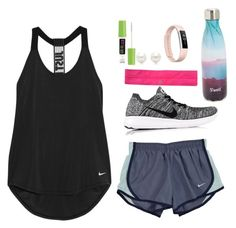 """""""What I wore to crossfit today"""" by elizabeth-preppy ❤ liked on Polyvore featuring NIKE, lululemon, Fitbit, S'well, Tiffany & Co. and Maybelline"""