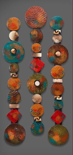 Circle Sticks with Red Square by Rhonda Cearlock (Ceramic Wall Sculpture - Dekoration Clay Wall Art, Ceramic Wall Art, Metal Tree Wall Art, Framed Wall Art, Wall Sculptures, Sculpture Art, Ceramic Sculptures, Wal Art, 3 Piece Wall Art