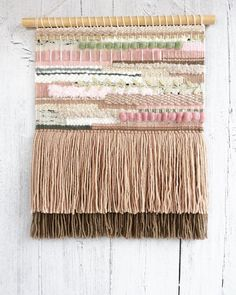 Woven Wall Hanging, Pale Pink, Hand Weaving, Sparkle, Wall Decor, Textiles, Colours, Paper, Handmade