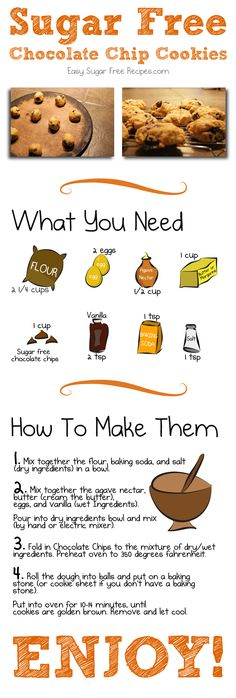 My comic on how to make sugar free chocolate chip cookies. Baking can be even more fun with cartoons!