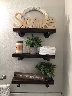 Depth Farmhouse Bathroom Rustic Shelves with pipe brackets. Bathroom Wall Shelves, Wood Wall Shelf, Small Bathroom Storage, Wall Shelves Design, Wall Storage, Kitchen Storage, Space Saving Shelves, Small Shelves, Bathroom Design Inspiration
