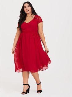 1c1733c11668 Red Lace Chiffon Midi Dress, JESTER RED Midi Dress Plus Size, Plus Size  Dresses
