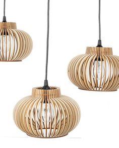 Birch pendant #lamp VERSALIS TRIO by ScandiMAMA Lamp Design, Lighting Design, Pendant Lamp, Pendant Lighting, Buttercup, Laser Cutting, Interior Ideas, Floor Lamp, Birch