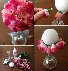 DIY centro de mesa de rosas para bodas Más