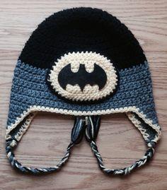 Crochet Batman hat. Basic pattern from Repeat Crafter Me. Felt Bat cut with Cricut Explore