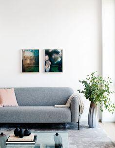 Oscar Properties: Lyceum Zootomiska #oscarproperties interior, design, architecture, inspiration, living room, flowers, pots, sofa, grey sofa, art