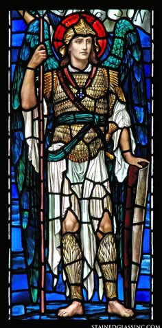 """Warrior Angel"" Religious Stained Glass Window"