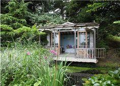 Garden house over pond