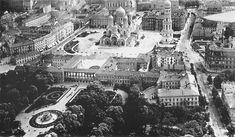 Zdjęcie lotnicze pałacu Saskiego i okolic z około 1919 roku, patrząc na wschód, widoczny sobór św. Aleksandra Newskiego
