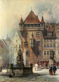 Lorenz Ritter, Lorenzer Platz mit Tugendbrunnen in Nürnberg http://kunstnuernberg.de/tugendbrunnen-nuernberg/