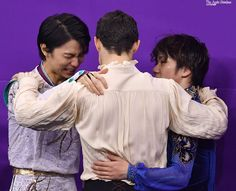 Podium hug, group hug, friends hug.