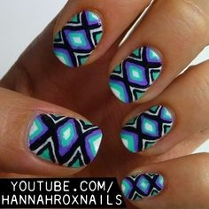 Neon Tribal Nails... I would paint this pattern on one finger only