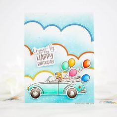 The Greetery: A Top Down Kind of Day – Kiwi Koncepts Balloon Clusters, Outline Images, Distress Oxide Ink, Cute Cars, Color Lines, Card Making Inspiration, The Balloon, Color Card, My Stamp