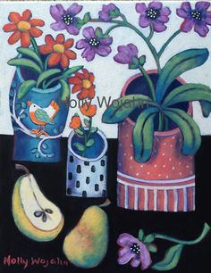 """""""Three  Cheery Vases and Pears""""!!! To replace the one just sold on """"Artfinder.com/holly-wojahn"""